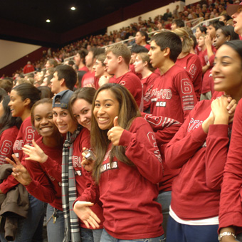 Students cheering at a game
